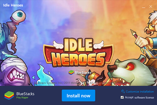 start installing idle heroes on pc