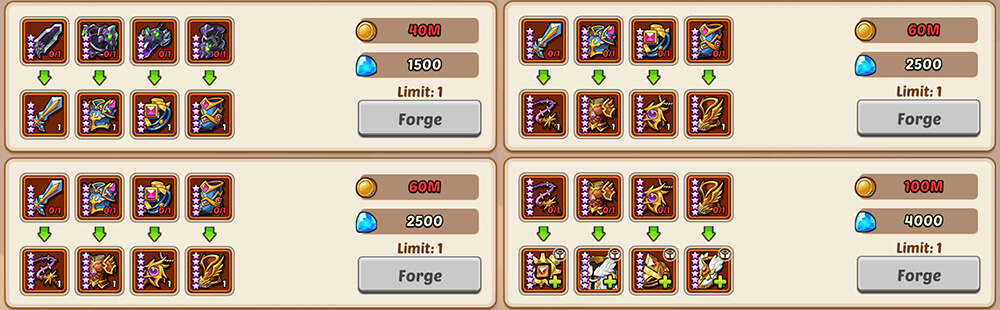 All of the upgrades players can do in the Blacksmith event
